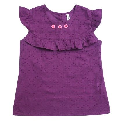 Purple Girls Solid Top With Frill - Campana