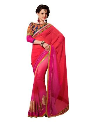 Elegant Floral Work Saree Multi Red - Touch Trends Ethnic