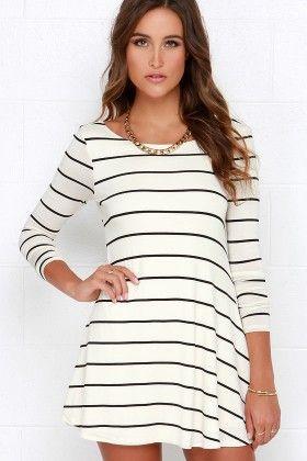 White & Black Stripe Dress - Oomph