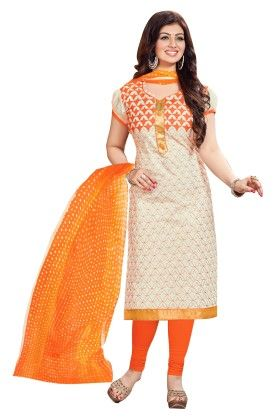 Riti Riwaz Cream & Orange Embroidered Dress Material With Matching Dupatta