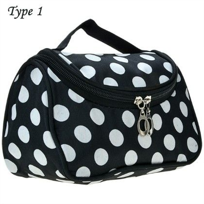 Polka Cosmetic Travel Bag-black - Oomph