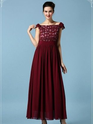 Chiffon Printed Spring Dress - Mauve Collection