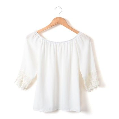 Round Neck White Top - She In