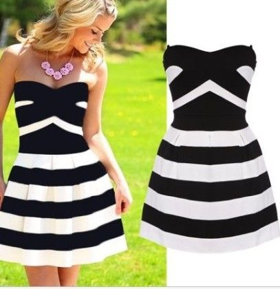 Black And White Striped Ruffle Dress - Drape In Vogue