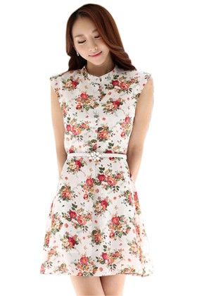 Floral Print Dress - Mauve Collection