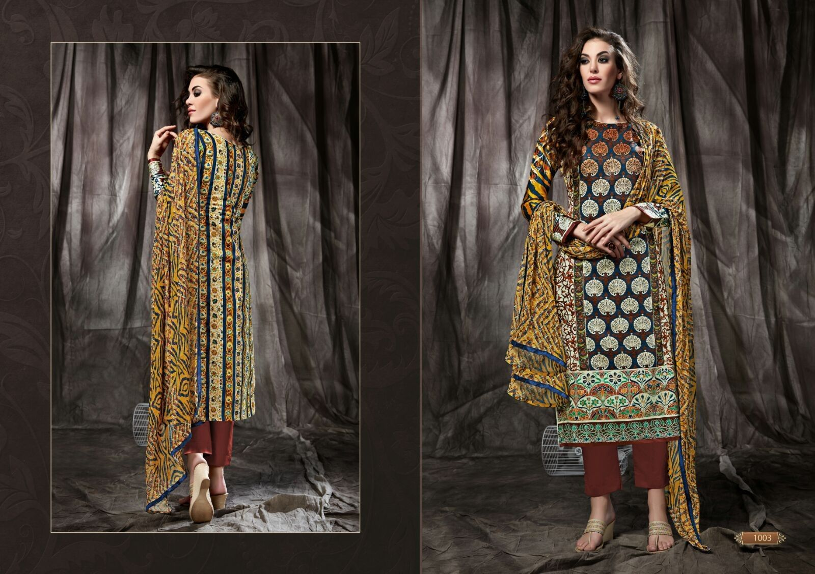 Yellow And Brown Printed Dress Material - Fashion Fiesta