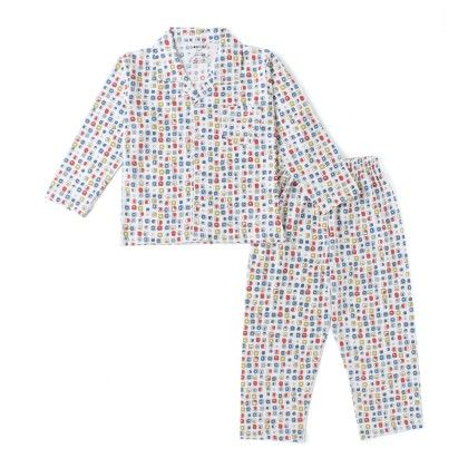 White All Over Square Print Boys Full Sleeves Pyjama Suit - DoReMe