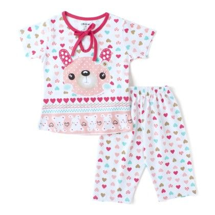 Light Red All Over Heart Print Girls T-shirt And Pant Suit - DoReMe