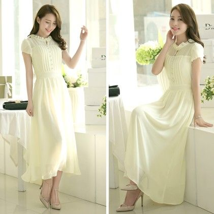 Women Chiffon Slim Short-sleeve White Dress - STUPA FASHION