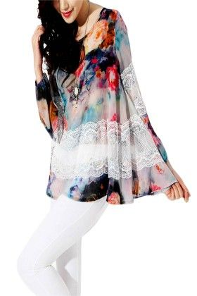 Classy Printedwomens Top With Lace - Mauve Collection