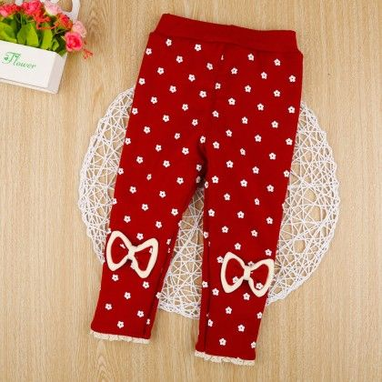 Red Floral Print Leggings With Bow Applique - Jazzy Snazzy