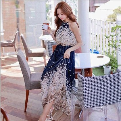 Femme Blue Chiffon Dress - STUPA FASHION