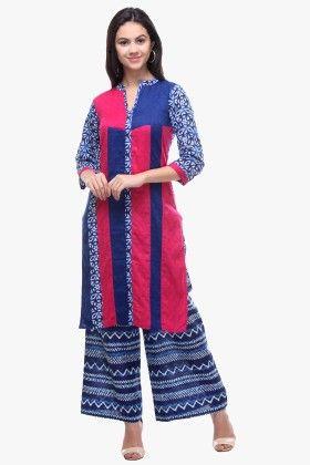 Indigo & Pink Cotton Cambric Printed Kurti - Riti Riwaz