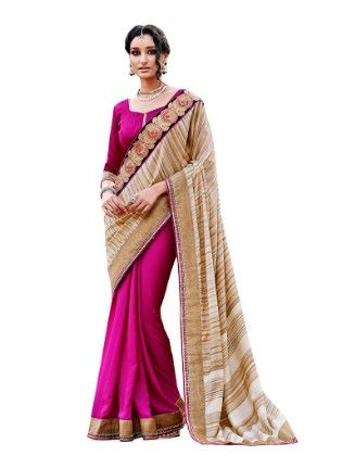 Contrast Embroidery Thread Work With Multiple Jari Saree - Touch Trends Ethnic