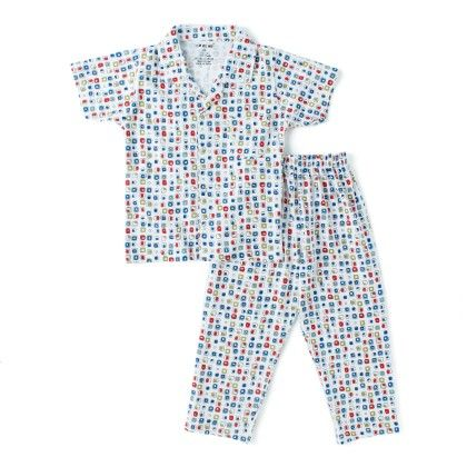 White All Over Square Print Boys Half Sleeves Pyjama Suit - DoReMe