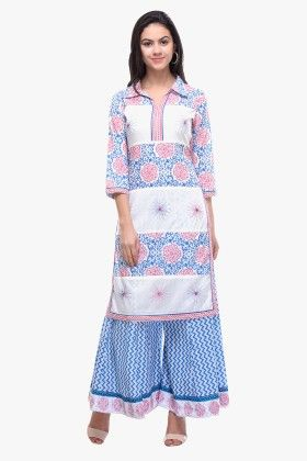 Cotton Cambric Printed Kurti White - Riti Riwaz