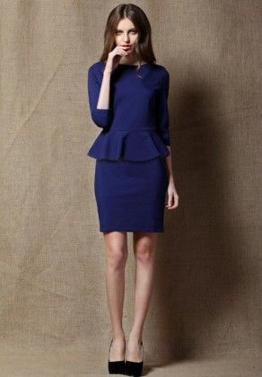 Beautiful Ppelum Style Blue Dress  Blue - Mauve Collection
