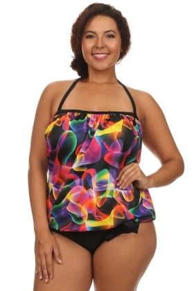 Multi Lava Two Piece Plus Size Bandeau Blouson Tankini With Bottoms - Dippin Daisy