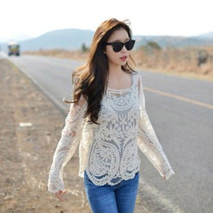 Hollow Out Long Sleeve Crochet Lace Blouse - STUPA FASHION