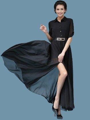 Black Button Dwon Maxi Dress - Mauve Collection