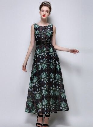Green Maxi Dress Printed - Mauve Collection