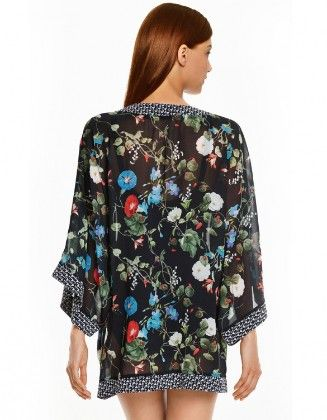 Floral Print Black Cover Up - Oomph