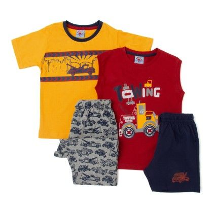 Red & Yellow T-shirt With Navy Bottom & Shorts - Punkster