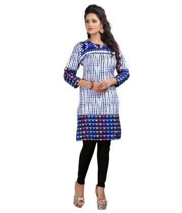 White And Blue Formal Printed Kurti - Brand Stand