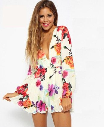 White Floral Print Jumpsuit - Oomph