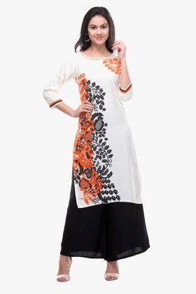 White Rayon Flex Printed Kurti - Riti Riwaz