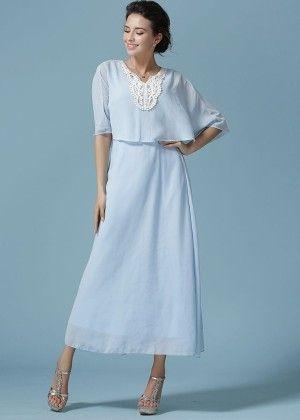 Chiffon Lace Patchwork Spring Maxi Dress - Mauve Collection