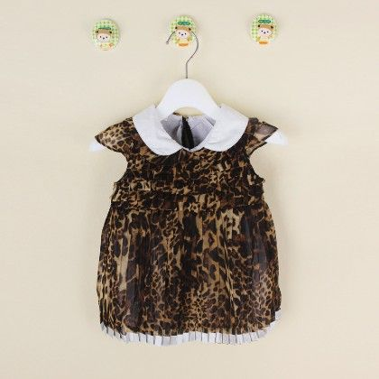 Yellow Cute Leopard Print Dress With Peter Pan Collar - Gianna
