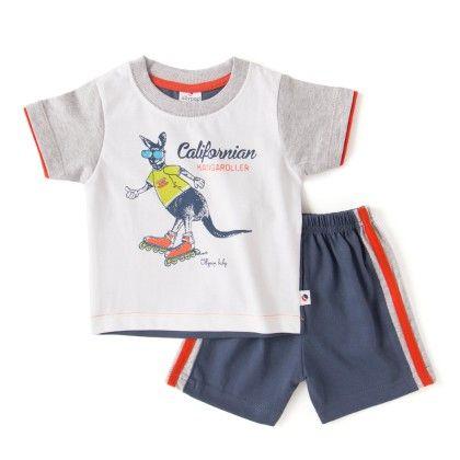 Navy Kangaroo Print T-shirt And Short Set - Ollypop