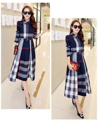 Beautiful Plaid Print Dress For Women Blue - Mauve Collection