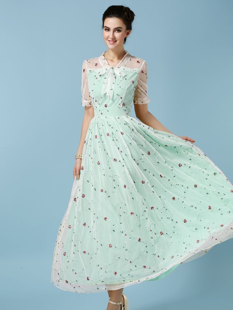 Green Printed Spring Dress - Mauve Collection