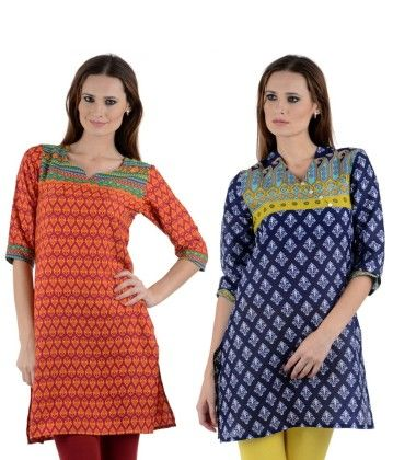 Combo Of Two Kurti Multi & Blue - Brand Stand