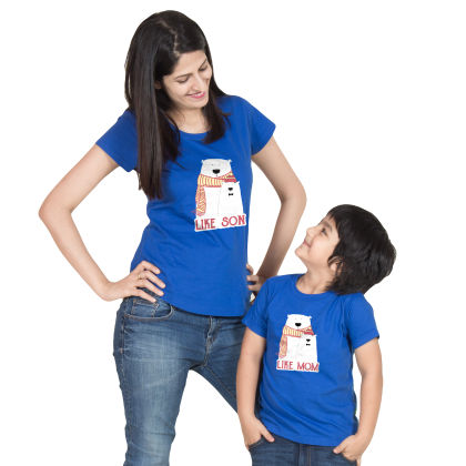 Royal Blue Like Son Cotton Tee For Mother - BonOrganik