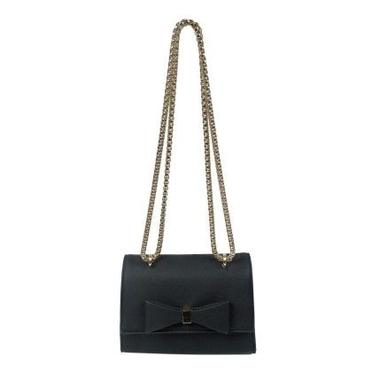 Front Bow Metal Chain Crossbody Black - YOKI