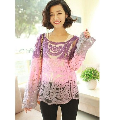 Long Sleeve Embroidery Floral Hollow Lace Top - STUPA FASHION