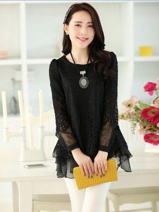 Lace Chiffon Women Clothing Tops - Black - STUPA FASHION