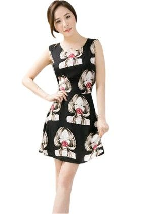 Flace Print Black Dress - Mauve Collection