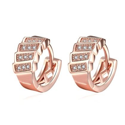 Rose Gold Plated Horizontal Plates Mini Hoop Earrings - Rubique Jewelry