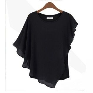 Ruffle Sleeve Women's Black Top - STUPA FASHION