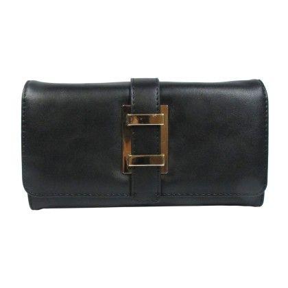 Belted Strap Front Wallet Black - YOKI