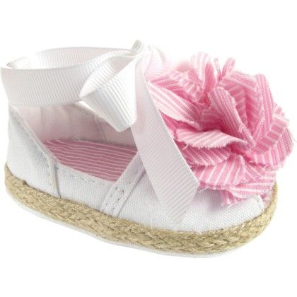 White Canvas Peep Toe Espadrille With Pink Star Flower - Baby Deer