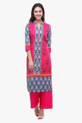 Indigo Cotton Cambric Printed Kurti - Riti Riwaz
