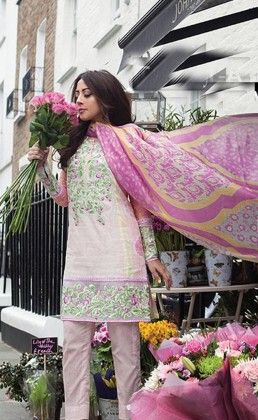 Pink Beautiful Printed Unstitched Suit - Mauve Collection
