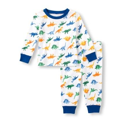 Baby Boys Long Sleeve Dinosaur Print Top And Pants Pj Set - The Children's Place