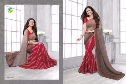 Red Half Leheriya Saree - Afreen