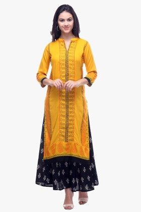 Yellow Rayon Printed Kurti - Riti Riwaz